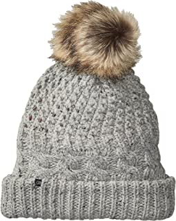 Plush Fleece-Lined Chunky Knit Hat with Faux Fur Pom Pom
