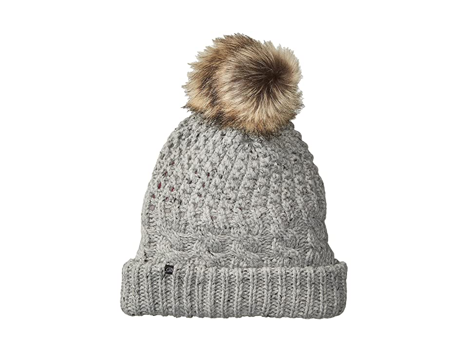 Plush Fleece-Lined Chunky Knit Hat with Faux Fur Pom Pom (Speckled Heather) Beanies