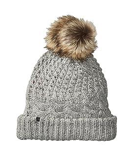 Fleece-Lined Chunky Knit Hat with Faux Fur Pom Pom