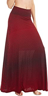 Women's Basic Solid Tie Dye Foldable High Waist Floor Length Maxi Skirt S-3XL Plus Size_Made in U.S.A.
