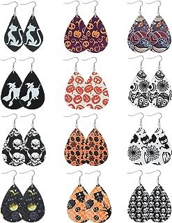 12Pairs Halloween Earrings for Women Teardrop Leather Dangle Earring Lightweight Halloween Costume Party Decoration Supplies