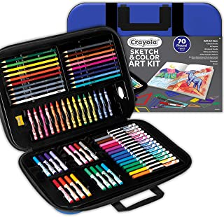 CRAYOLA 04 1050 Sketch & Colour Art Kit, 80+ Pieces, Soft Sturdy Case, Sketch Book, Crayons, Markers, Pencils, Portable Ar...