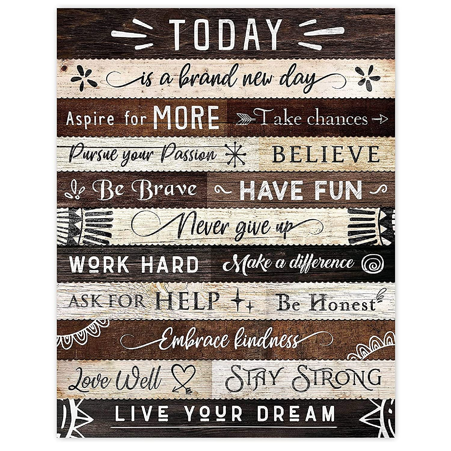Today Is a Brand Bargain sale New Day Inspirational Set Poster Quotes Translated Prints