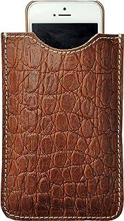 Astuccio porta e proteggi smartphone custodia in vera pelle pregiata riciclata e stampata con fantasia disegno Coccodrillo...