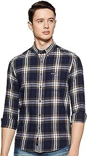 US Polo Association Men's Checkered Slim fit Casual Shirt (UDSH0326_Navy Medium Fs)