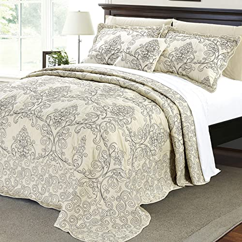 King Fancy Collection 3pc Bedspread Bed Cover Floral Off White Pink New 0605 COMIN18JU025040