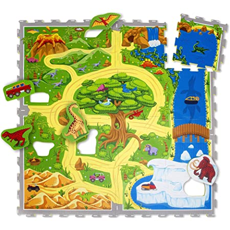 Tapis de jeu voiture en mousse Hakuna Matte 1,2 x 1,2 m - 16 dalles mousse à emboîtement - Tapis de jeu puzzle 20% plus épais- Certifié EN-71, inodore -Tapis mousse dans une boîte en carton recyclable
