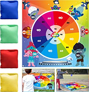 ANGOLIO Lawn Dart Toss Game Troll Darts Games with 4 Bean Bags Fun Throwing Game Troll Backdrop Kit Summer Party Supplies Great Themed Acticities Carnival Garden Floor Group Sports for Kids Adults