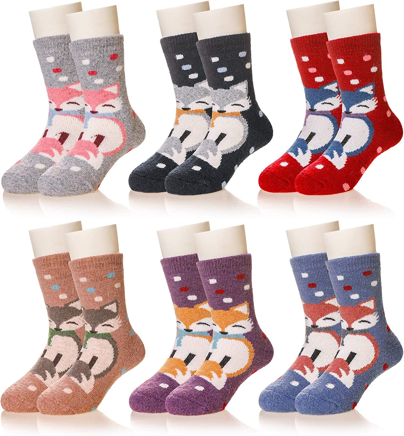 Kids Girls Boys Winter Wool Socks Child Toddlers Soft Warm Thermal Thick Crew Casual Socks 6 Pairs