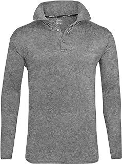 ZITY Mens Polo Shirt Sun Protection Quick-Dry Sweat-Wicking Long Sleeve Sports Golf Tennis T-Shirt Grey-M