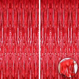 XtraLarge Red Fringe Curtain - 3.2x10 feet   Pack of 2   Metallic Red Backdrop for Red Party Decorations   Holographic Foi...