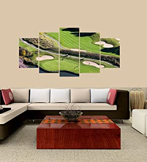 PEACOCK JEWELS Premium Quality Canvas Printed Wall Art Poster 5 Pieces / 5 Pannel Wall Decor Montreal South-Shore Golf Course Painting, Home Decor Pictures - with Wooden Frame