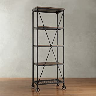 ModHaus Living Modern Industrial Rustic Riveted Black Metal & Wood Bookcase Shelf with Decorative Wheels - Includes (R) Pen
