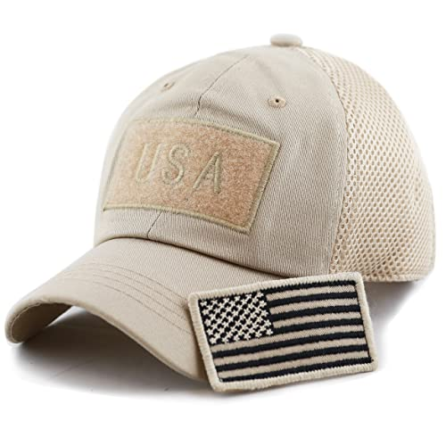 7dbe4ed91b96f THE HAT DEPOT Cotton Low Profile Tactical Operator USA Flag Patch Buckle  Mesh Cap