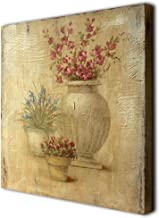 CVHOMEDECO. Rustic Vintage Hand Painted Wooden Frame Wall Hanging 3D Painting Decoration Art, Flower in Planter Design, 15...