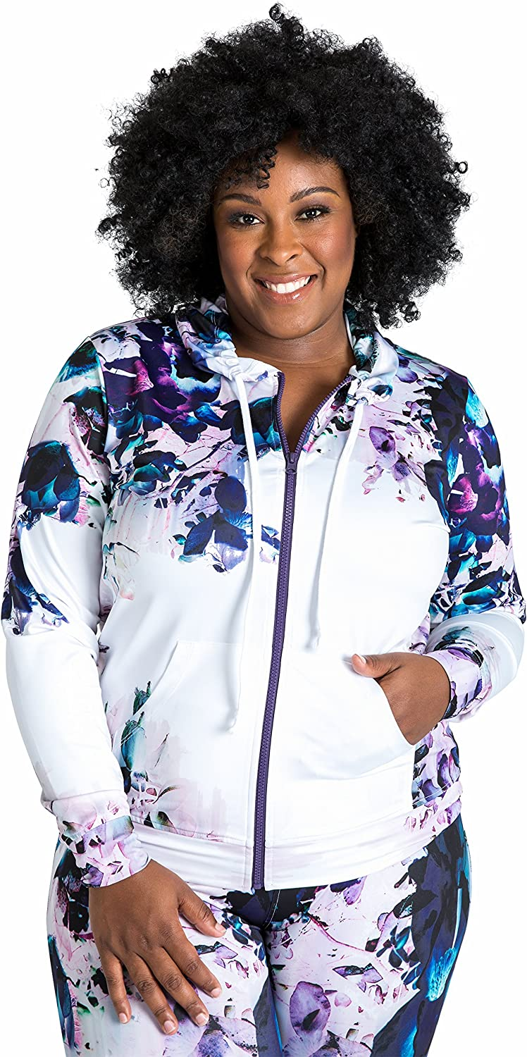 Poetic Justice Curvy Women's Plus Size Track Jacket Hoodies White Floral Printed In Poly Tricot Fabric