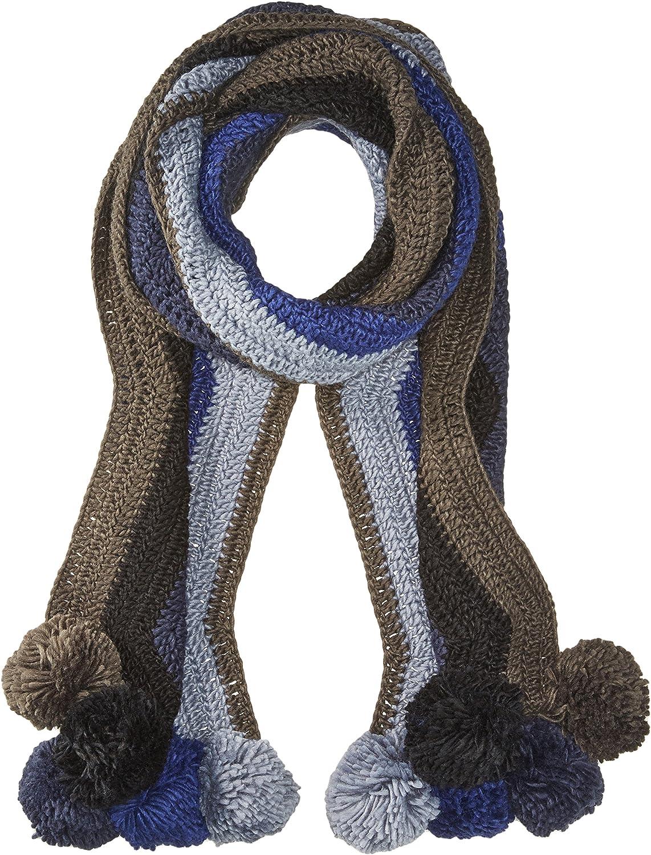 BCBGMAXAZRIA womens Crochet Stripe Pom Muffler Winter Scarve