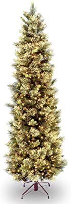 National Tree Company Pre-lit Artificial Christmas Tree   Includes Pre-strung White Lights and Stand   Carolina Pine Slim - 7.5 ft