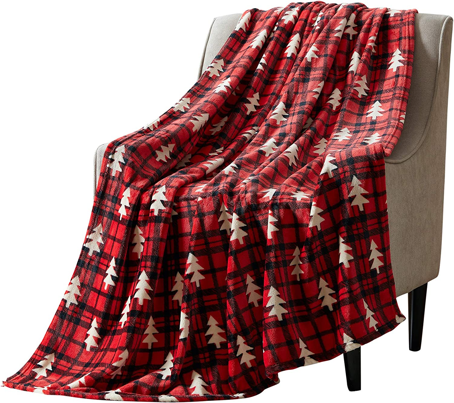 Christmas Tartan Decorative Throw Blanket: Popular A surprise price is realized overseas Soft Comfy wit Fleece