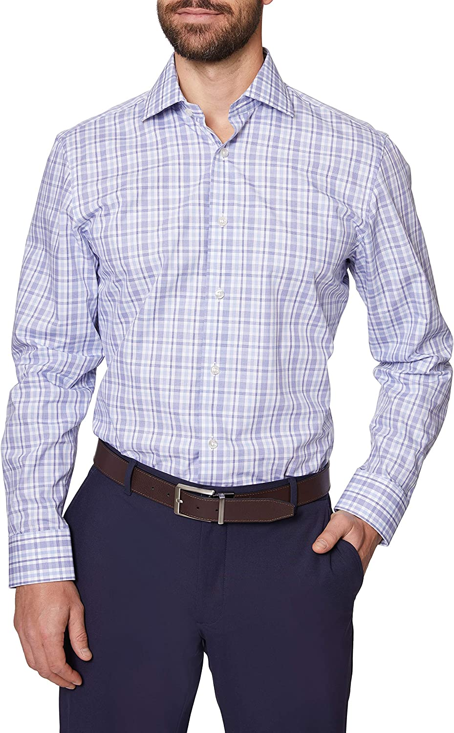 Max 45% OFF Hickey Freeman Men's half Contemporary Fitted Long Shirt Sleeve Dress