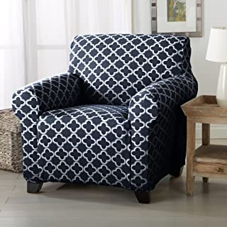 Home Fashion Designs Printed Twill Arm Chair Slipcover. One Piece Stretch Chair Cover. Strapless Arm Chair Cover for Living Room. Brenna Collection Slipcover. (Chair, Navy)