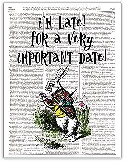 I'm Late, Alice in Wonderland Vintage Rabbit Wall Decor, Dictionary Wall Art, Photo Print, 8x10, Unframed