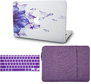 """KECC Laptop Case for MacBook Pro 13"""" (2020, with Touch Bar) w/Keyboard Cover + Sleeve Plastic Hard Shell Case A2289/A2251 3 in 1 Bundle (Purple Flower)"""