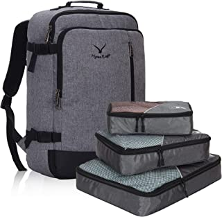 Hynes Eagle 38L Flight Approved Weekender Carry on Backpack Black Grey with Grey 3PCS Packing Cubes