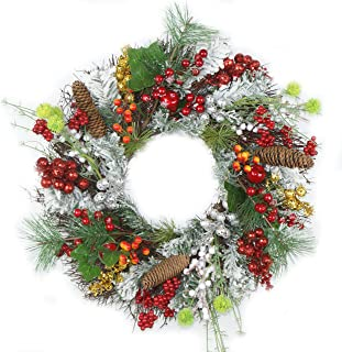 Delicaft Pre-Lit 16 Inch Luxury Red Gold Christmas Wreath for Front Door with Artificial Greenery Spruce, Christmas Ball Ornaments and Pinecones (Berry Wreath)