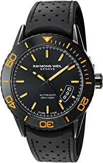 Raymond Weil Mens Freelancer Swiss Automatic Stainless Steel and Rubber Dress Watch, Color