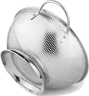 DLD Stainless Steel Micro-Perforated 5-Quart Colander - Professional Strainer with Heavy Duty Handles and Self-draining So...