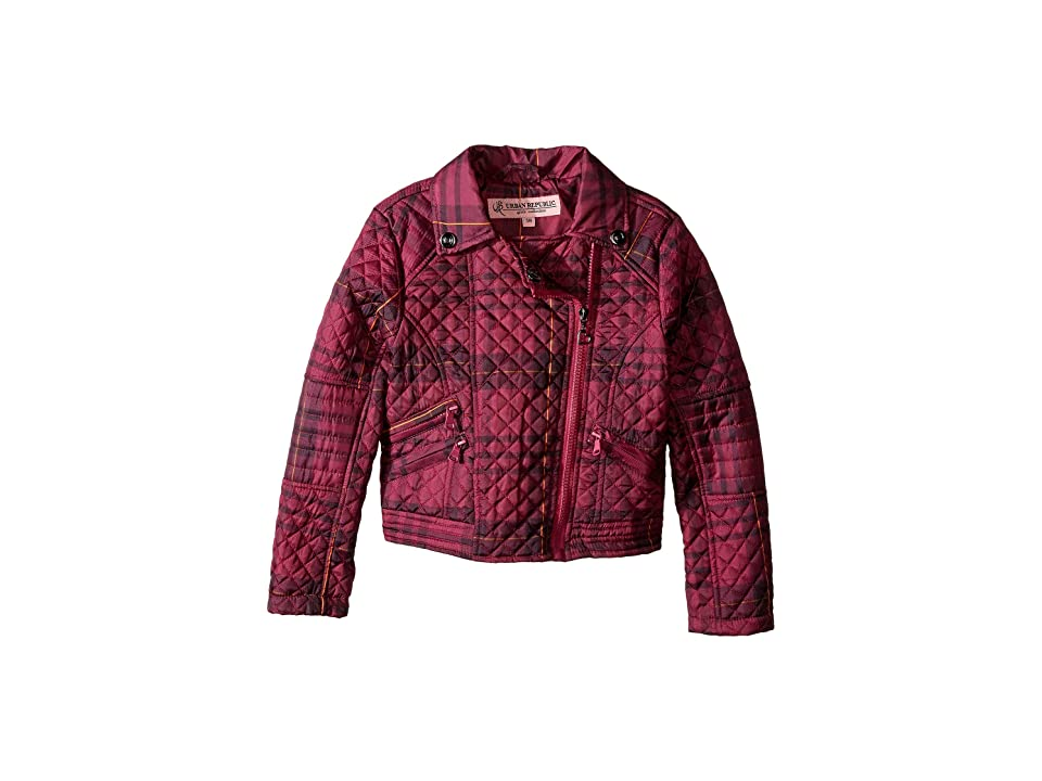 Urban Republic Kids Moto Thinfill Quilted Jacket (Little Kids/Big Kids) (Tartan Pink Plaid) Girl