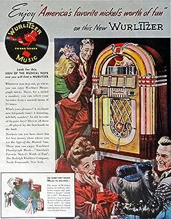 Wurlitzer Phonograph Music, Print Ad. Full Page Color Illustration (