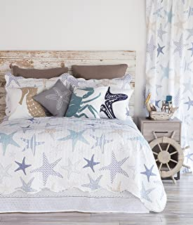 "North End Decor Starfish Reef Coastal Quilt, Queen 3-Piece Bedding Sets, 92""x96"", White"