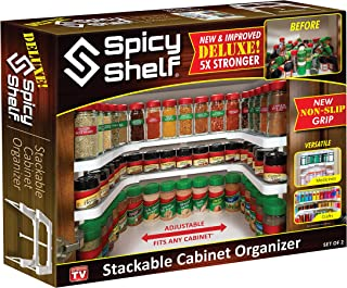 Spicy Shelf Deluxe - Expandable Spice Rack and Stackable Cabinet & Pantry Organizer (1 Set of 2 shelves) - As seen on TV(S...