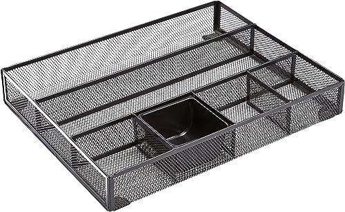 AmazonBasics Mesh Desk Organizer with 6 Compartments (Black)