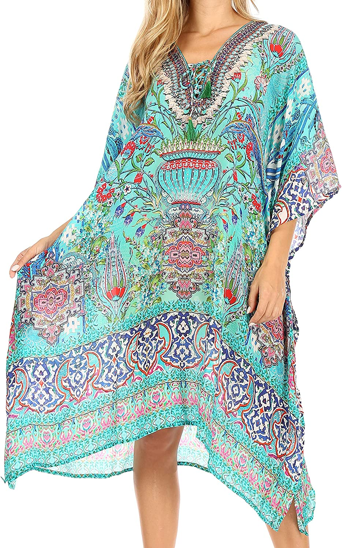 Sakkas Zeni Women's Short Sleeve V-Neck Summer Floral Print Caftan Dress Cover-up