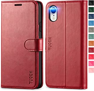 TUCCH iPhone XR Wallet Flip Folio Case with RFID Card Holder Soft PU Leather Kickstand Protective Magnetic Closure Cover C...