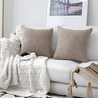 Kevin Textile Set of 2 Textural Faux Linen Throw Cushion Pillow Covers Shams for Couch, Invisible Zipper, 55x55CM, Natural Linen