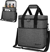 Premium Insulated 6 Bottle Wine Carrier Tote Bag   Wine Travel Bag with Shoulder Strap and Padded Protection   Wine Cooler...