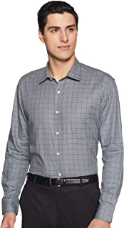 Amazon Brand - Symbol Men's Checkered Regular Fit Full Sleeve Cotton Formal Shirt
