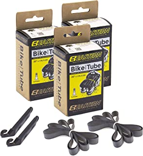 Eastern Bikes 20 Premium Replacement Tube Fits 20 x 1.75-2.125 Tires. Comes with Tire Lever Tools and Fresh Rim Strips in 1 2 3 4 and 5 Packs.