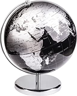 Exerz World Globe (Dia 30cm) – Educational/Geographic/Modern Desktop Decoration - with a Metal Base - Metallic Black (Diam...