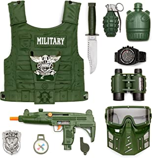 Best Choice Products 11-Piece Kids Play Pretend Dress-Up Battle Military Soldier Playset w/Gear, Costume - Green