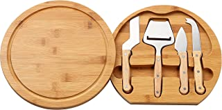 Juvale Cheese Board Set - Charcuterie Board and Cheese Tools, Cheese and Meat Board, Includes 1 Bamboo Cutting Board and 5 Piece Knife Tools, 10.2