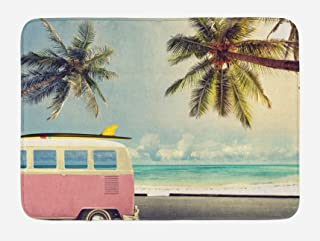 Ambesonne Surf Bath Mat, Minivan The Beach Retro Inspired Vacation Clouds in Summer Sky Honeymoon Destination, Plush Bathroom Decor Mat with Non Slip Backing, 29.5