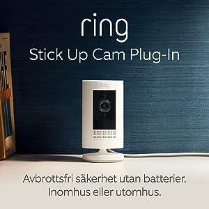 Ring Stick Up Cam Plug-In från Amazon | HD-säkerhetskamera med tvåvägskommunikation | 30 dagars kostnadsfri provperiod på Ring Protect Plan ingår | Vit