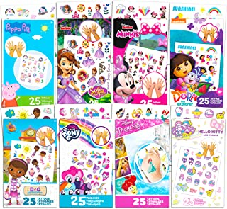 Tattoos for Toddlers Girls Mega Assortment ~ Bundle Includes 200 Temporary Tattoos Featuring Minnie Mouse, Disney Princess...