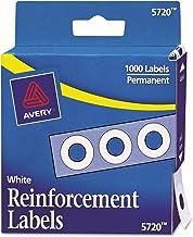 Avery 打孔加固贴纸,?#26412;?/4 英寸(约 0.6 厘米),1000 个/包 Pack of 1000 白色