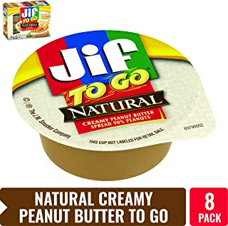 Jif To Go Natural Creamy Peanut Butter, 1.5 oz., 8 Total Cups – Convenient On the Go Pack, 7g (7% DV) of Protein per Serving, Smooth, Creamy Texture – No Stir Natural Peanut Butter